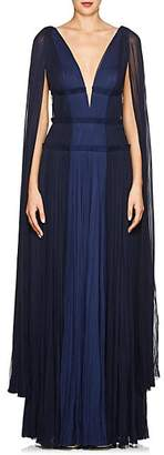 J. Mendel Women's Cape-Sleeve Silk Plissé Gown - Blue