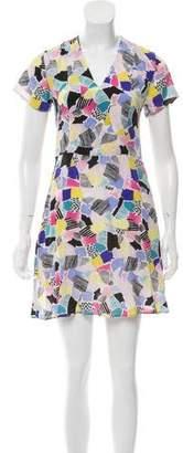 MAISON KITSUNÉ Silk Printed Mini Dress w/ Tags