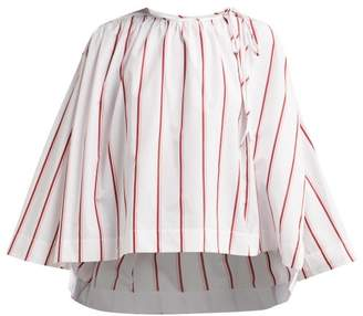 Calvin Klein Fluted Sleeve Striped Cotton Blouse - Womens - White Multi