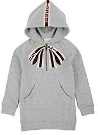 Gucci Kids' Bow-Embroidered Cotton Hooded Dress - Gray