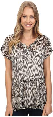 Lucky Brand Ikat Peplum Top Women's Short Sleeve Pullover