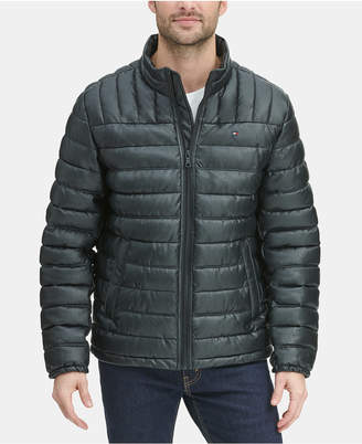 Tommy Hilfiger Men Quilted Faux Leather Puffer Jacket