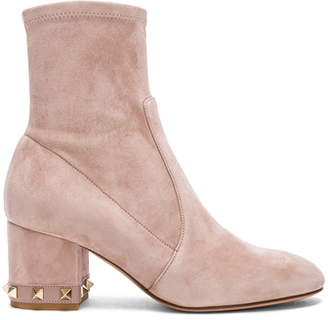 Valentino Suede Rockstud Trim Heel Ankle Boots