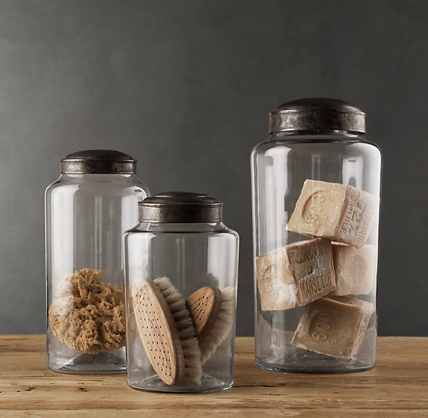 Restoration Hardware Pharmacy Zinc & Glass Jars