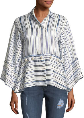 Alexis Adette Striped Bell-Sleeve Top w/ Removable Hem
