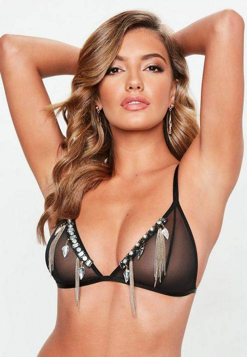 Black Chain Mesh Bra