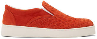 Bottega Veneta Red Suede Intrecciato Dodger Slip-On Sneakers