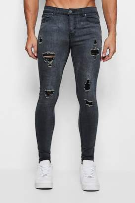 boohoo Spray On Skinny Jeans With Distressing