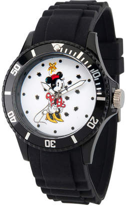 DISNEY MINNIE MOUSE Disney Minnie Mouse Womens Black Strap Watch-Wds000260