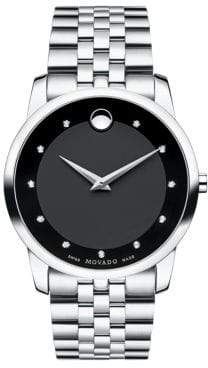Movado Men's Museum Classic Stainless Steel Diamond Bracelet Watch - Silver Black