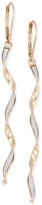 Italian Gold Twist Glitter Long Drop Earrings in 14k Gold