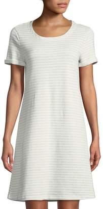 Neiman Marcus Short-Sleeve Striped A-Line Dress