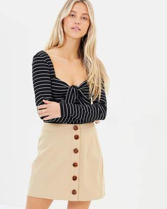MinkPink Buttoned Mini Skirt