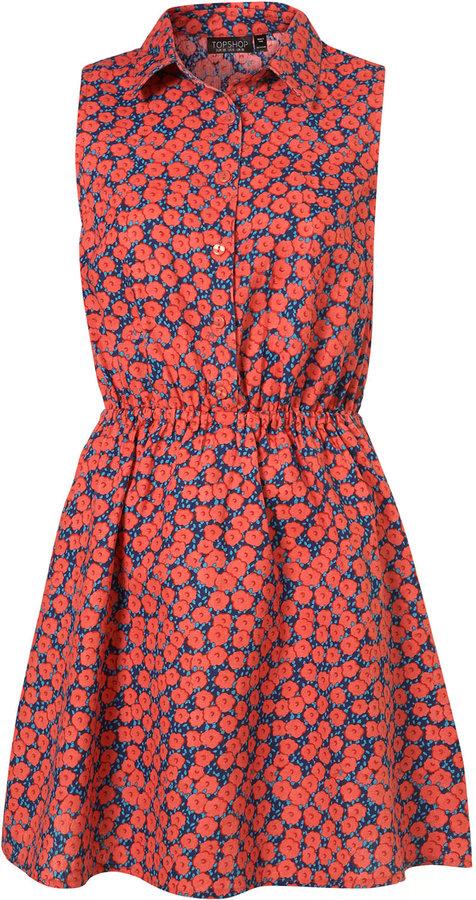 Red Poppy Sleeveless Shirt Dress