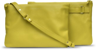 Holly & Tanager Companion Max Leather Crossbody Clutch In Yellow