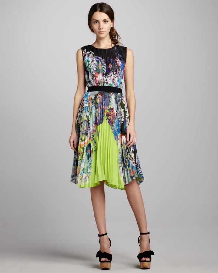 BCBGMAXAZRIA Sierra Printed Neon Dress