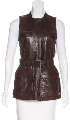 Theory Belted Leather Vest