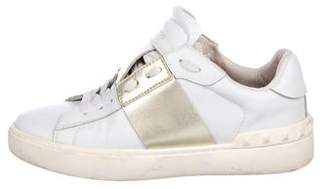 Valentino Leather Round-Toe Sneakers