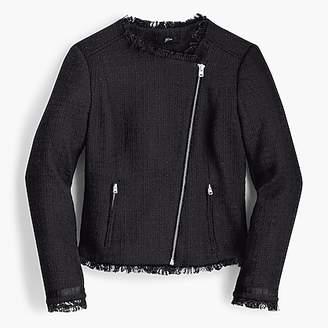 J.Crew Tweed motorcycle jacket with fringe