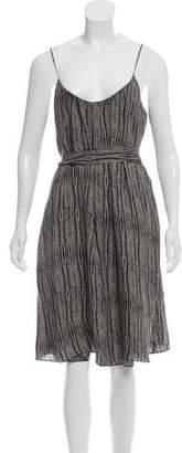 L'Agence Silk Chiffon Sleeveless Midi Dress