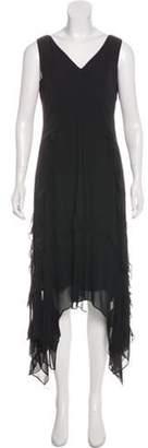 Elizabeth and James Ruffled Midi Dress Black Ruffled Midi Dress