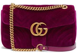 9daba1448dc15d Gucci Gg Marmont Small Quilted Velvet Cross Body Bag - Womens - Purple