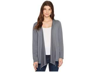 Mod-o-doc Cotton Modal Fleece Button Hem Hooded Cardigan Women's Sweater