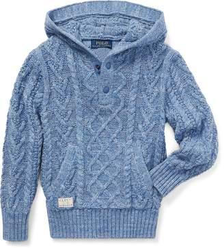 Ralph Lauren Aran Cotton Hooded Sweater