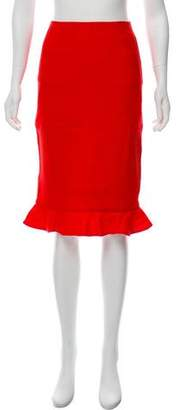 Oscar de la Renta Ruffled Wool Skirt