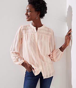 LOFT Petite Textured Stripe Blouse