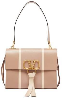 Valentino V Ring Snakeskin Inlaid Leather Shoulder Bag - Womens - Pink Multi