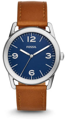 Fossil Ledger Three-Hand Brown Leather Watch