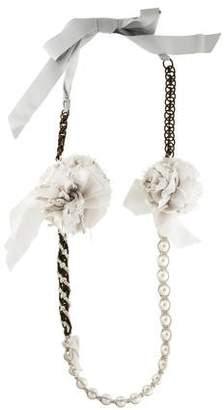 Lanvin Faux Pearl & Grosgrain Collar Necklace