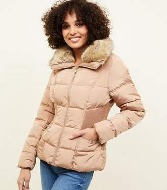 New Look Camel Faux-Fur Collar Cinched Waist Puffer Jacket