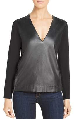 Majestic Filatures Leather-Front Tee
