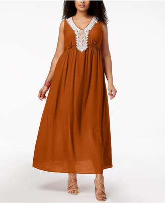 NY Collection Petite Plus Size Crochet-Trim Maxi Dress
