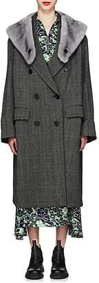 Prada Women's Mink-Fur-Collar Herringbone Virgin Wool Coat - Gray
