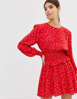 Finders Keepers long sleeve flippy dress in ditsy print