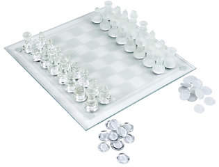 Hey! Play! Elegant Glass Chess and Checker Boar d Set