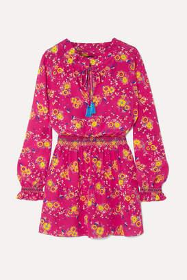Saloni Tassel-trimmed Floral-print Silk Crepe De Chine Mini Dress