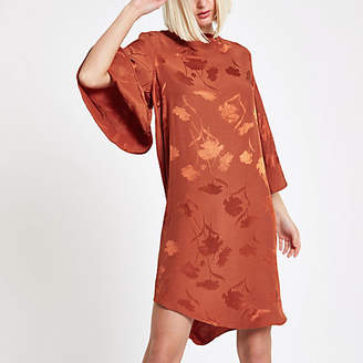 River Island Brown floral cape sleeve swing dress