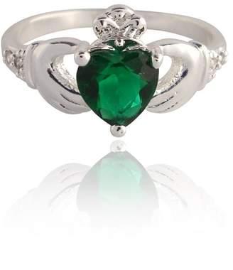 Trinity Ladies Emerald Cut Stone Silver Plated Claddagh Ring