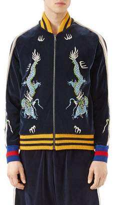 Gucci Embroidered Velvet Jersey Bomber Jacket, Blue $2,100 thestylecure.com