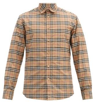 Burberry Simpson House Check Cotton Blend Shirt - Mens - Beige