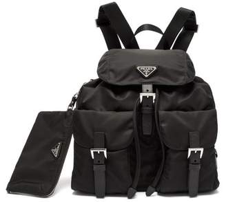 Prada Logo Plaque Nylon Backpack - Womens - Black