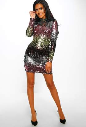 c3a787b2ad81 Pink Boutique Party All Night Multi Ombre Sequin Long Sleeve Mini Dress