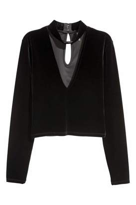 H&M Velour Top - Black - Women