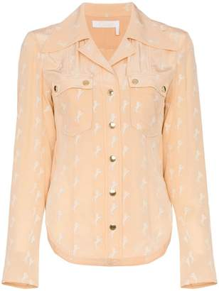 Chloé horse printed double pocket silk shirt