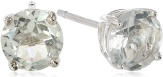 Sterling Silver Round Green Amethyst Earrings