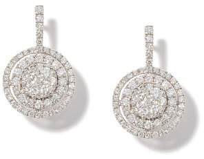 Anne Sisteron Double Halo White-Gold Diamond Earrings